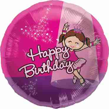 Birthday Ballerina Foil Round 18in/45cm