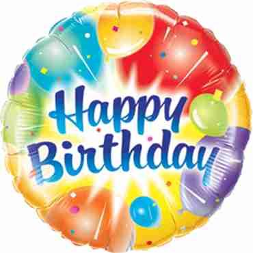 Birthday Balloons Ablaze Blue Foil Round 18in/45cm
