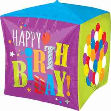 Birthday Balloons Cubez 15in/38cm x 15in/38cm