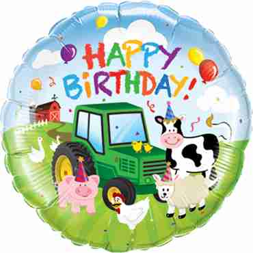 Birthday Barnyard Foil Round 18in/45cm