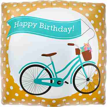 Birthday Bike Banner Foil Square 18in/45cm
