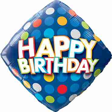 Birthday Blue and Colourful Dots Foil Diamond 18in/45cm