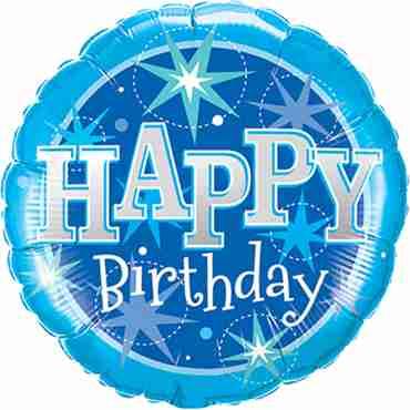 Birthday Blue Sparkle Foil Round 18in/45cm
