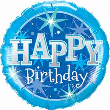 Birthday Blue Sparkle Foil Round 36in/90cm