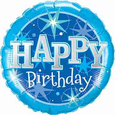 Birthday Blue Sparkle Foil Round 36in/90cm