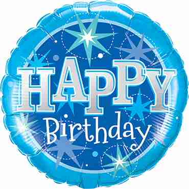 Birthday Blue Sparkle Foil Round 9in/22.5cm