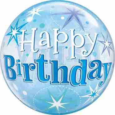 Birthday Blue Starburst Sparkle Single Bubble 22in/55cm
