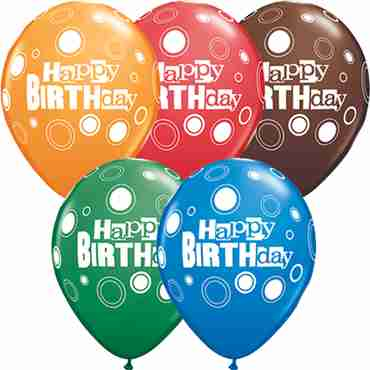Birthday Bold Dots Standard Dark Blue, Fashion Chocolate Brown, Standard Red, Standard Green and Standard Orange Assortment Latex Round 11in/27.5cm