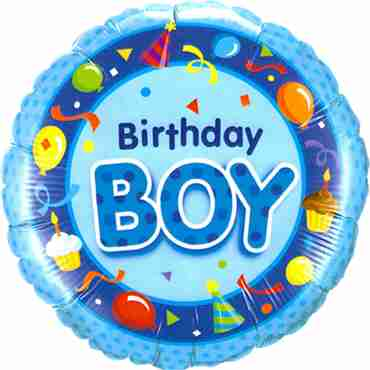 Birthday Boy Blue Foil Round 18in/45cm