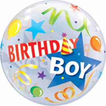 Birthday Boy Party Hat Single Bubble 22in/55cm