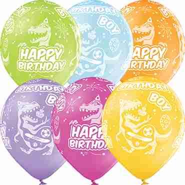Birthday Boy Pastel Apple Green, Pastel Bright Yellow, Pastel Orange, Pastel Rose, Pastel Lavender and Pastel Sky Blue Assortment Latex Round 12in/30cm