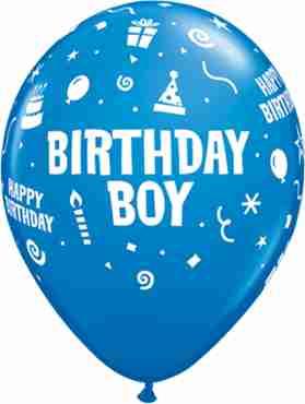 Birthday Boy Standard Dark Blue Latex Round 11in/27.5cm