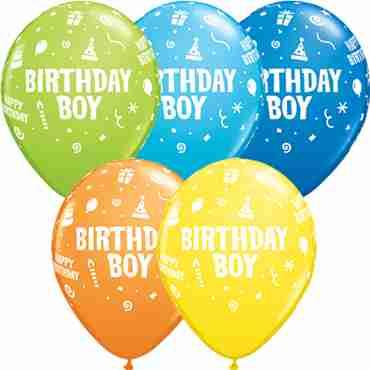 Birthday Boy Standard Dark Blue, Standard Yellow, Standard Orange, Fashion Robins Egg Blue and Fashion Lime Green Assortment Latex Round 11in/27.5cm