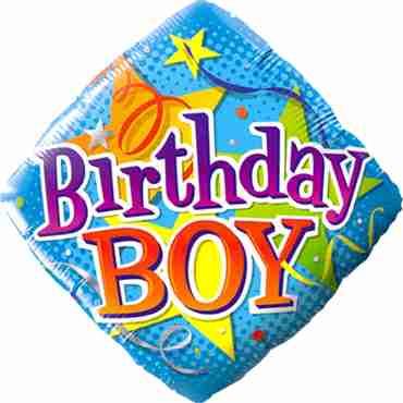 Birthday Boy Stars Foil Diamond 18in/45cm