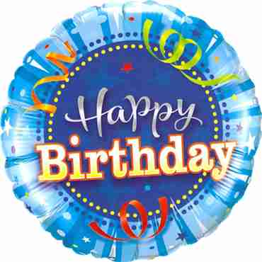 Birthday Bright Blue Foil Round 18in/45cm