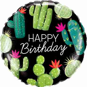 Birthday Cactuses Foil Round 18in/45cm