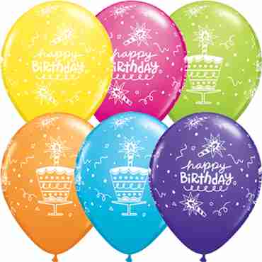 Birthday Cake and Candle Retail Assortment Latex Round 11in/27.5cm