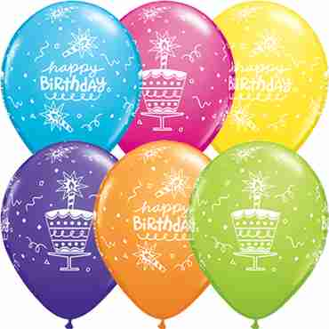 Birthday Cake and Candle Tropical Assortment Latex Round 11in/27.5cm