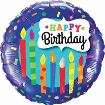 birthday candles and confetti foil round 18in/45cm