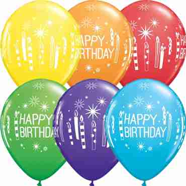 Birthday Candles and Starbursts Bright Rainbow Assortment Latex Round 11in/27.5cm