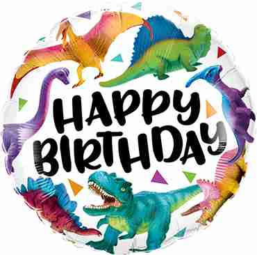 Birthday Colorful Dinosaurs Foil Round 18in/45cm