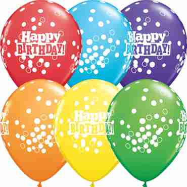 Birthday Confetti Dots Bright Rainbow Assortment Latex Round 11in/27.5cm