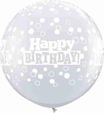 Birthday Confetti Dots Crystal Diamond Clear (Transparent) Latex Round 36in/90cm
