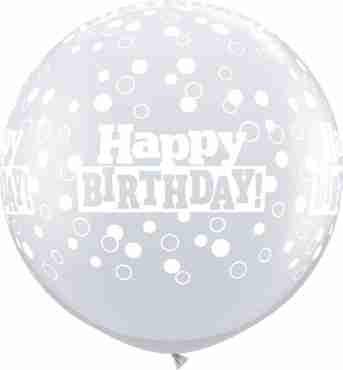 Birthday Confetti Dots Crystal Diamond Clear (Transparent) Latex Round 36in/90cm