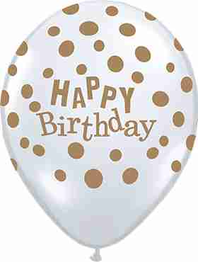 Birthday Confetti Dots Diamond Clear (Transparent) w/Gold Ink Latex Round 16in/40cm