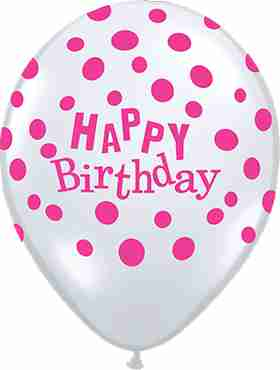Birthday Confetti Dots Diamond Clear (Transparent) w/Pink Ink Latex Round 16in/40cm