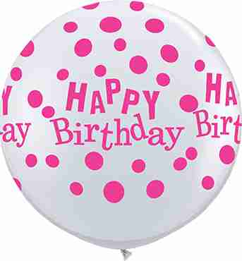 Birthday Confetti Dots Diamond Clear (Transparent) w/Pink Ink Latex Round 36in/90cm