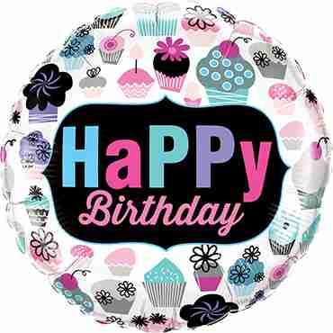 Birthday Cupcakes Emblem Foil Round 18in/45cm