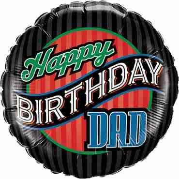 Birthday Dad Stripes Foil Round 18in/45cm