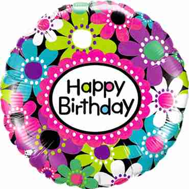 Birthday Daisy Patterns Foil Round 18in/45cm