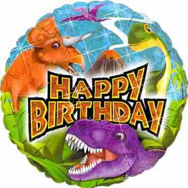 Birthday Dinosaurs Holographic Foil Round 18in/45cm