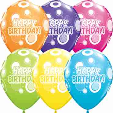 Birthday Dots and Glitz Retail Assortment Latex Round 11in/27.5cm