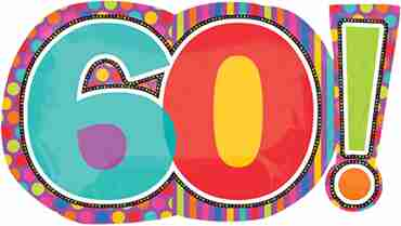 Birthday Dots and Stripes 60 Foil Shape 29in/74cm x 18in/46cm