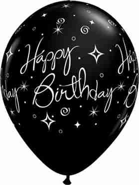 Birthday Elegant Sparkles and Swirls Fashion Onyx Black Latex Round 11in/27.5cm