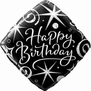 Birthday Elegant Sparkles and Swirls Foil Diamond 18in/45cm