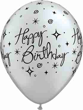 Birthday Elegant Sparkles and Swirls Metallic Silver Latex Round 11in/27.5cm