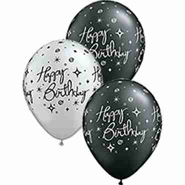 birthday elegant sparkles and swirls pearl onyx black and metallic silver assortment latex round 11in/27.5cm