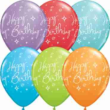 Birthday Elegant Sparkles and Swirls Retail Assortment Latex Round 11in/27.5cm