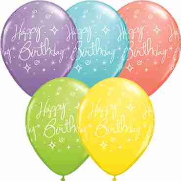 Birthday Elegant Sparkles and Swirls Sorbet Assortment Latex Round 11in/27.5cm