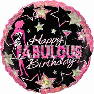 Birthday Fabulous Holographic Foil Round 18in/45cm