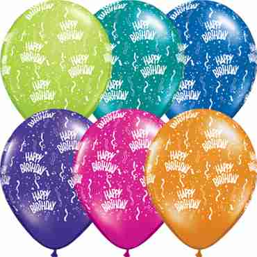 Birthday Fantasy Assortment Latex Round 16in/40cm