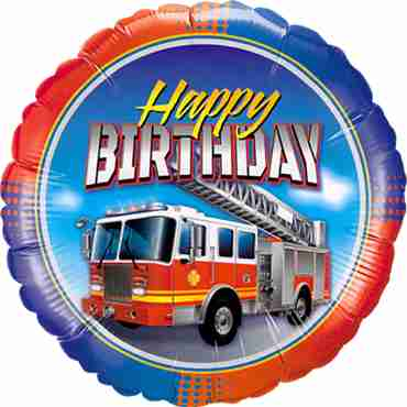 Birthday Fire Truck Foil Round 18in/45cm