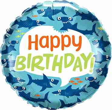 Birthday Fun Sharks Foil Round 18in/45cm