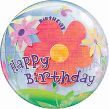 Birthday Funky Flowers Single Bubble 22in/55cm
