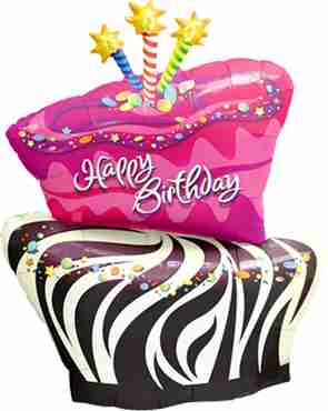birthday funky zebra stripe cake foil shape 41in/102.5cm