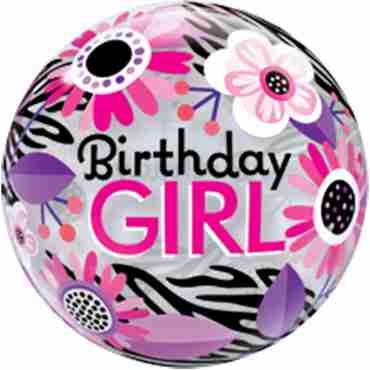 Birthday Girl Floral Zebra Stripes Single Bubble 22in/55cm